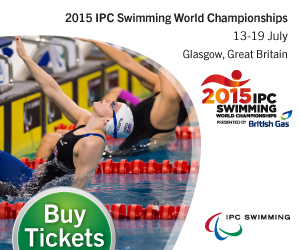 Banner with a picture of a men in the pool: Click here for more informations about the Glasgow 2015 IPC Swimming World Championships.