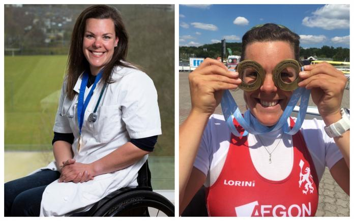 Collage of photos of Dutch athlete in doctor's uniform and rowing medals