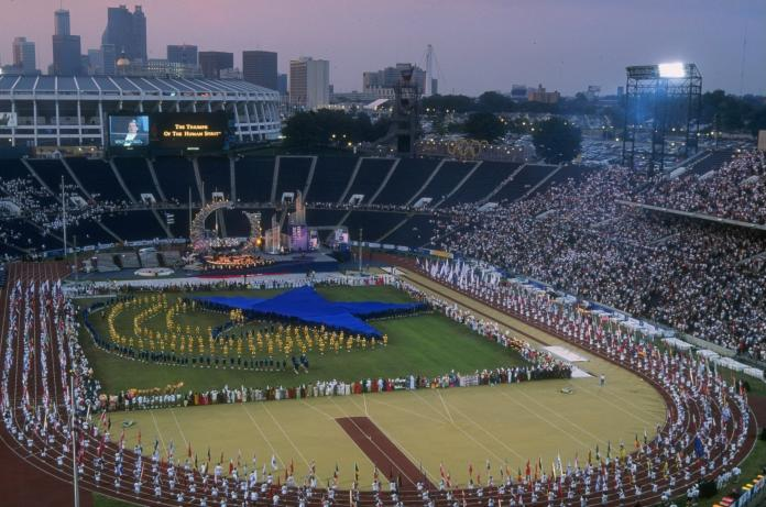 Aerial view of the Atlanta 1996 Opening Ceremony