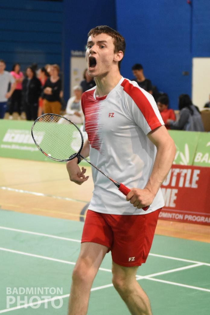 A famous English badminton player after a point