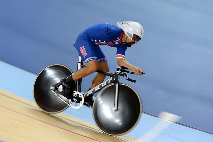 Joseph Berenyi of the United States competes in the Men's Individual Cycling C3 Pursuit qualification at the London 2012 Paralympic Games at Velodrome.