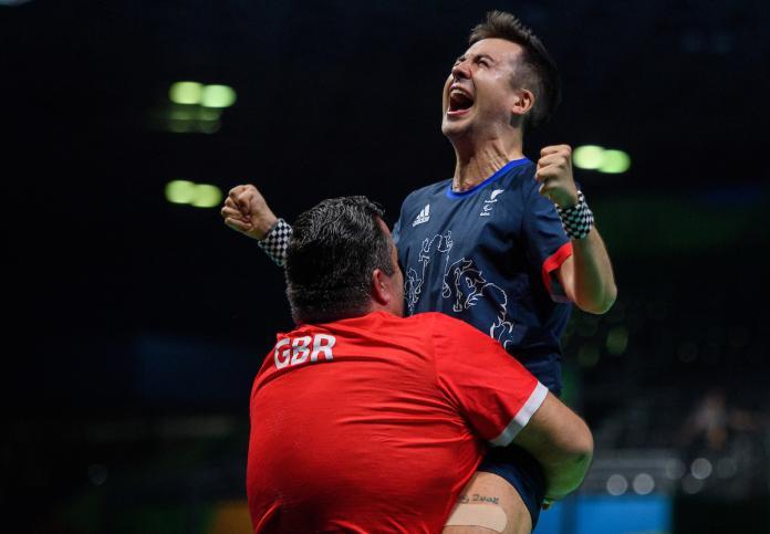 Will Bayley celebrates 3-1 win over Israel Pereira Stroh BRA in Men's Singles - Class 7