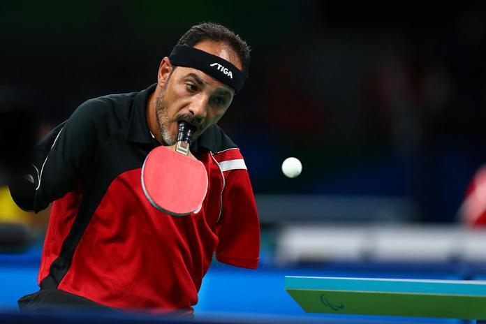 Ο Αιγύπτιος Ιμπραήμ Χαμάτου αγωνίζεται στο ανδρικό πινγκ-πονγκ - Κατηγορία 6 στους Παραολυμπιακούς Αγώνες του Ρίο 2016.