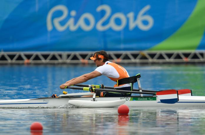 Alexander van Holk of Netharlands winner of the AS - ASM1x Final B men's single scull at the Rio 2016 Paralympic Games.