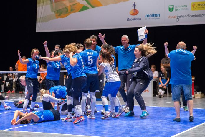 Italian sitting volleyball team celebrates after beating hosts Netherlands at the 2018 World Championships