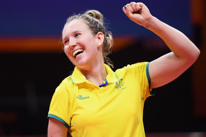 Para table tennis player Melissa Tapper pulls her fist in the win