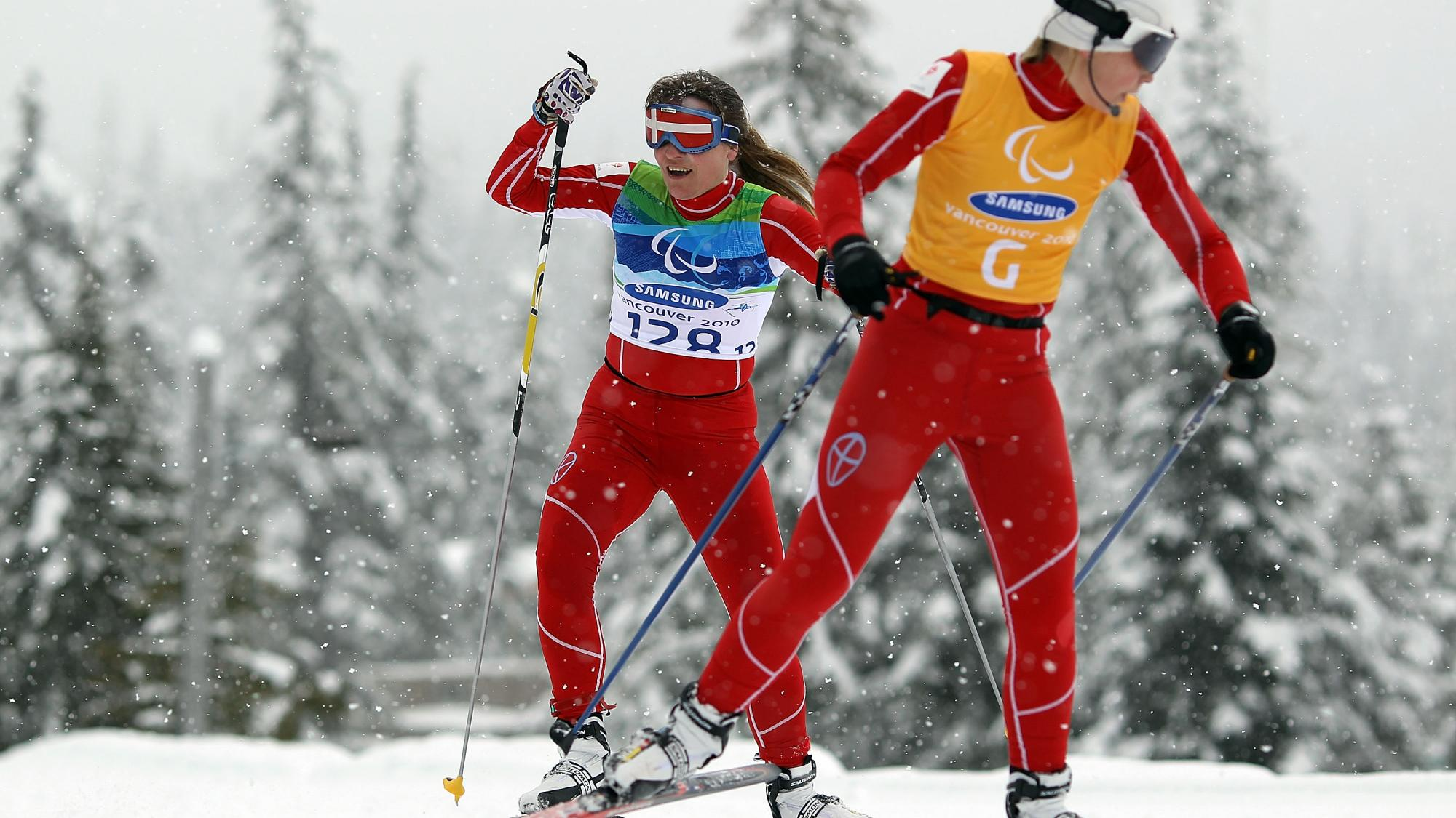 Anne-Mette Bredahl of Denmark competes during the Women's 3km Pursuit Visually Impaired Biathlon on Day 2 of the 2010 Vancouver Winter Paralympics