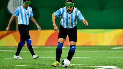 Froilan Padilla during the Men's Football 5-a-side between Argentina and Mexico at the Olympic Tennis Centre on Day 2 of the Paralympic Games