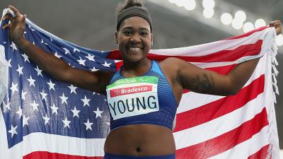 USA's Deja Young celebrates after winning gold in women's 200m T44 final at Rio 2016