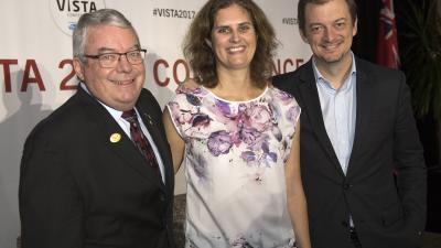 The IPC's founding President Dr. Bob Steadward, 2017 Scientific Award winner Victoria Goosey-Tolfrey and IPC President Andrew Parsons at the opening of VISTA 2017 in Toronto.