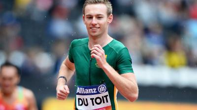 Charl Du Toit of South Africa competes in round one heat two of the Mens 400m T37 at the London 2017 World Para Athletics Championships.