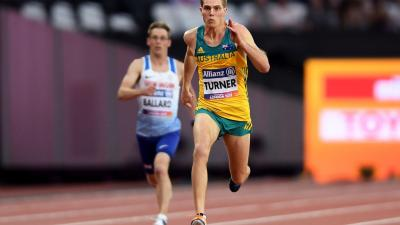 James Turner of Australia competes in the Men's 200m T36 Final at the London 2017 World Para Athletics Championships.
