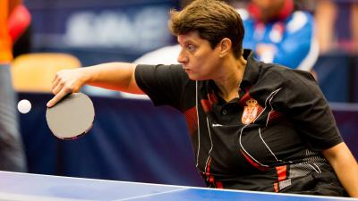 female Para table tennis player Borislava Peric-Rankovic plays a backhand