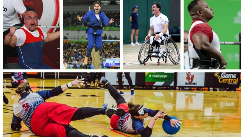 Collage with five photos of the five nominated athletes for Americas Athlete of the Month for July 2019