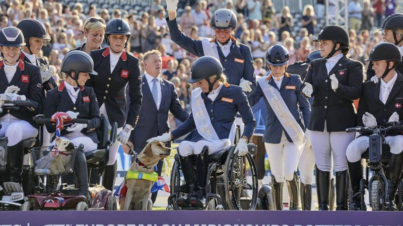 Group photo of Dutch Para dressage team on podium