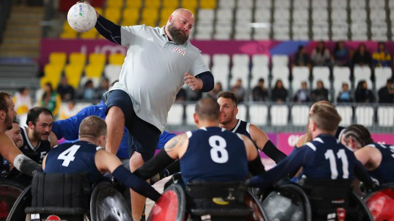 a group of male wheelchair rugby players