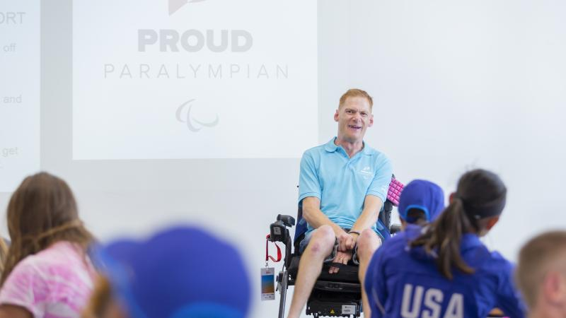 Proud Paralympian leader Stephen Miller delivers Proud Paralympian workship during Nottwil 2019
