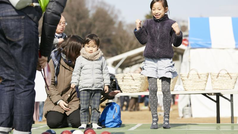 Japanese kids try boccia at one of the live site venues