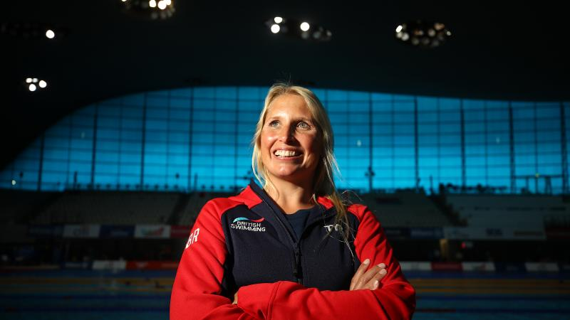 Photo portrait of British swimmer inside venue