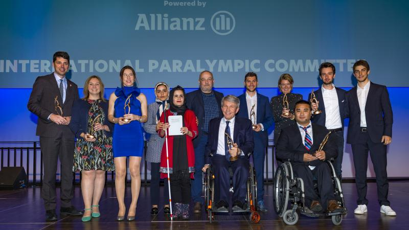 Group photo of all award winners on stage