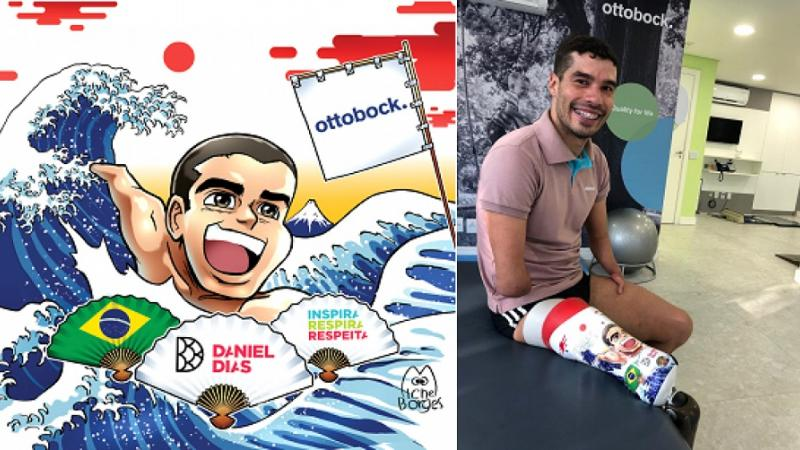Daniel Dias with his new prosthetic leg and his manga version designed by artist Michel Borges
