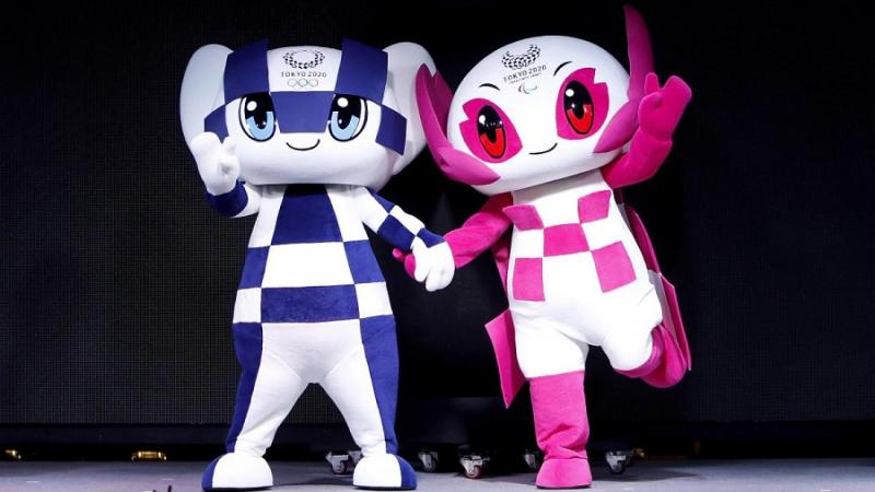 Miraitowa (L) and Someity are the Olympic and Paralympic mascots for Tokyo 2020
