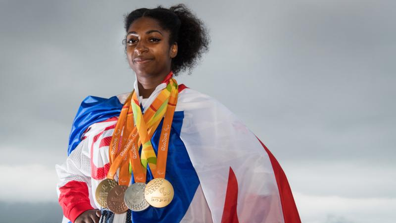 British athlete Kadeena Cox posing with her four medals from the Rio 2016 Games