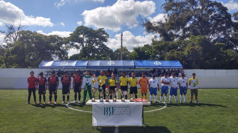Costa Rican and Guatemalan teams line-up before the final of the 2019 Central American Championships