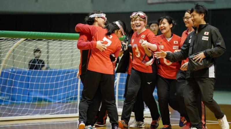 Japanese women's goalball team celebrates after winning 2019 Asia-Pacific Championships