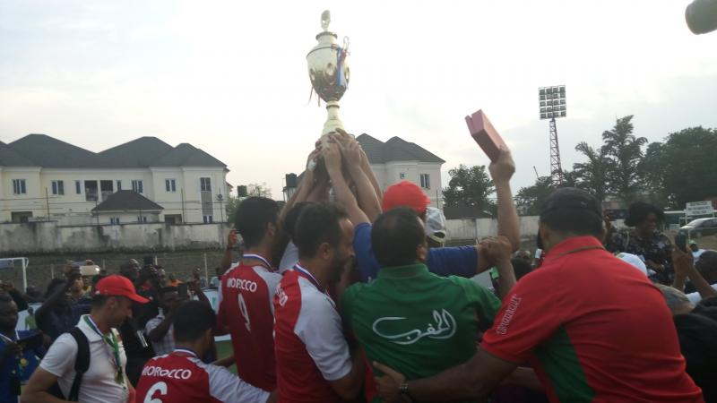Moroccan players lift the African Championships trophy