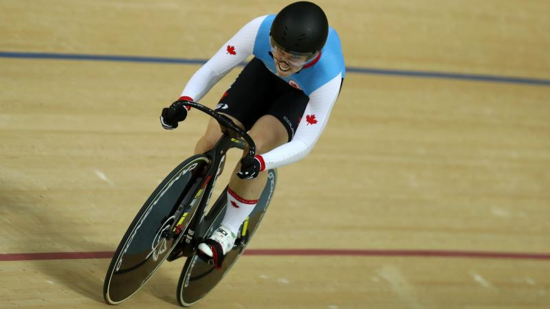 Canadian cyclist Kate O'Brien competing on the track