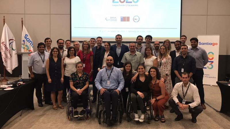 Group photo at the first Co-ordination Commission for the Santiago 2023 Parapan American Games