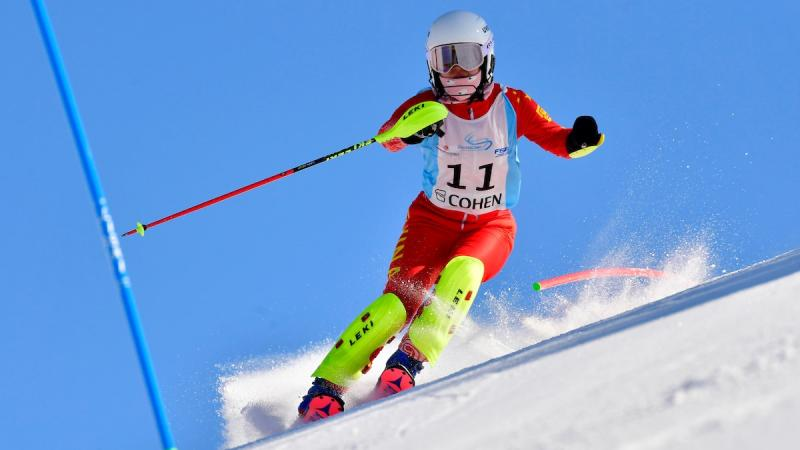 Chinese standing skier comes down the mountain