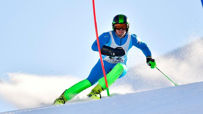 Russian male skier competes in the slalom