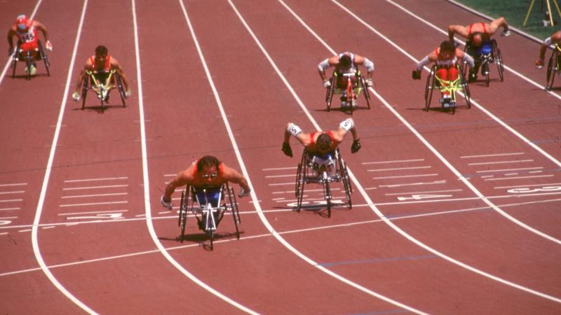 Athlete in track, Barcelona 1992 Paralympic Games.