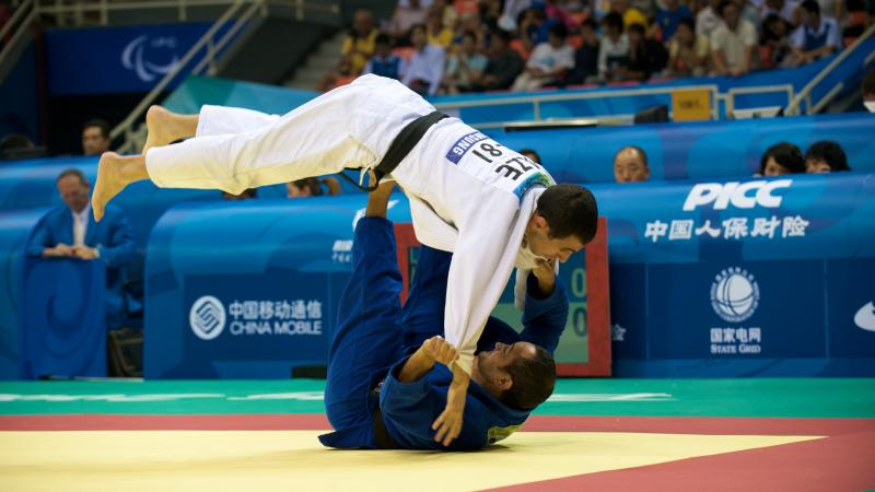 Athletes in a judo competition Beijing 2008.