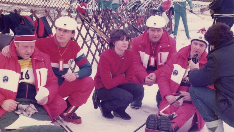 Athletes in the snow Innsbruck 1984