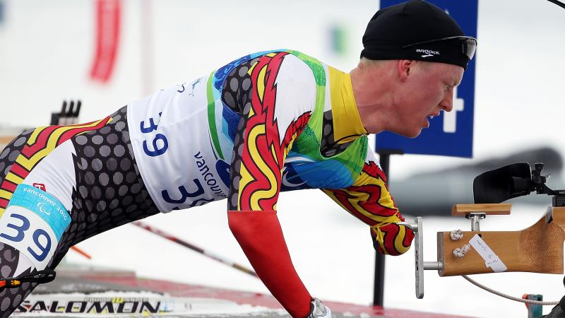Mark Arendz (CAN) competes in the Men's 12.5km Standing Biathlon event at the Vancouver 2010 Paralympic Winter Games.