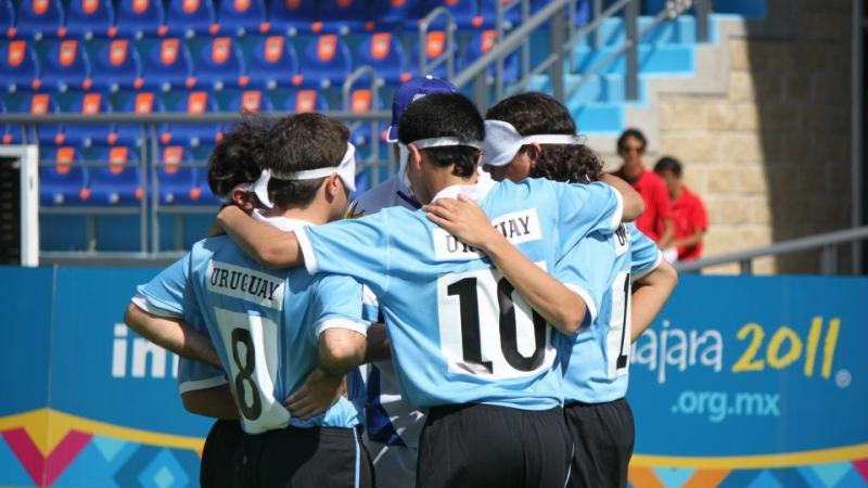 Football 5-a-side Team Uruguay during a game at the 2011 Parapan American Games in Guadalajara, Mexico