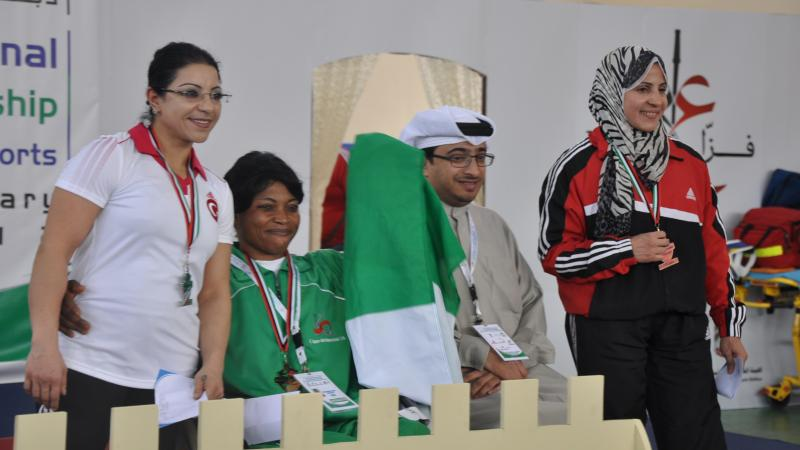 44Kg Women's podium at 4th FAZZA International Powerlifting Championship