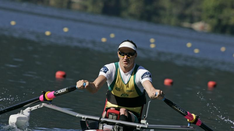A picture of a person rowing