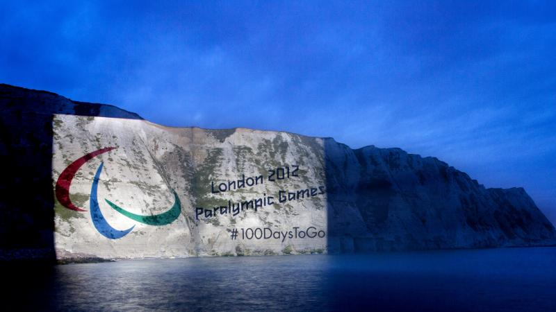 The Paralympic Symbol Projected onto the White Cliffs of Dover to mark 100 days to go