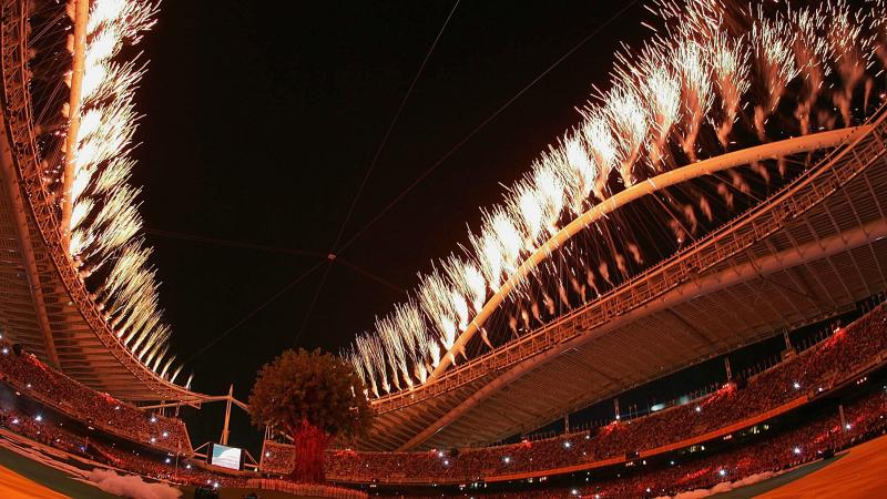 A picture of a firework in a stadium