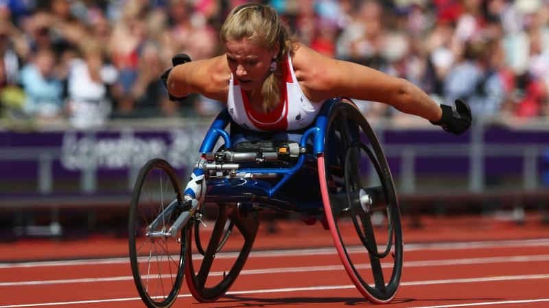 Hannah Cockroft set a new Paralympic record in the women's 100m - T34 at the London 2012 Paralympic Games