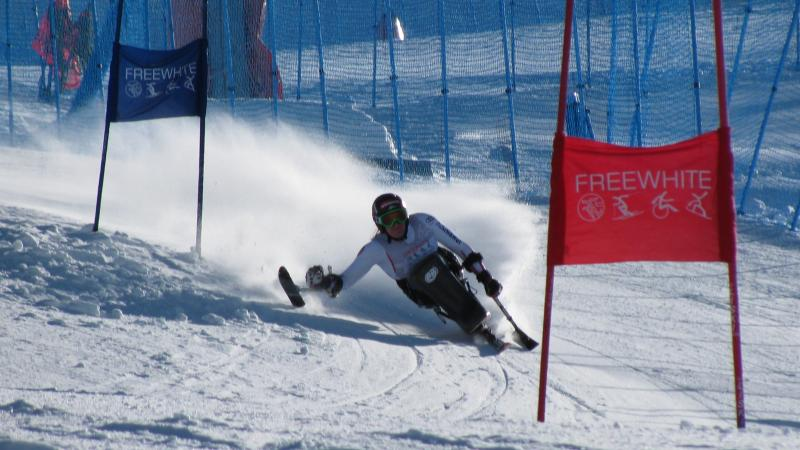 Austria's Claudia Loesch competes giant slalom on a sit ski