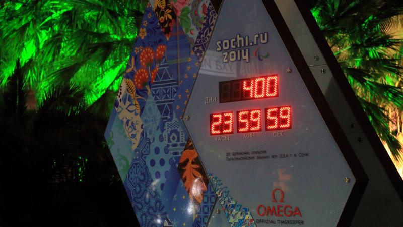 A picture of a stopwatch posting 400 days to go to the Sochi 2014 Paralympic Winter Games.