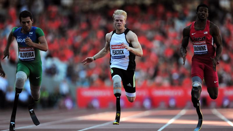 Sprinters Alan Oliveira, Jonnie Peacock and Richard Browne compete at the Sainsbury's Anniversary Games