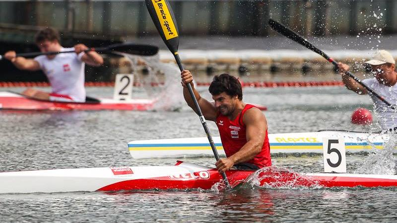 Austria's Mendy Swoboda won his second world title in the para-canoe K1 men's 200m TA event.