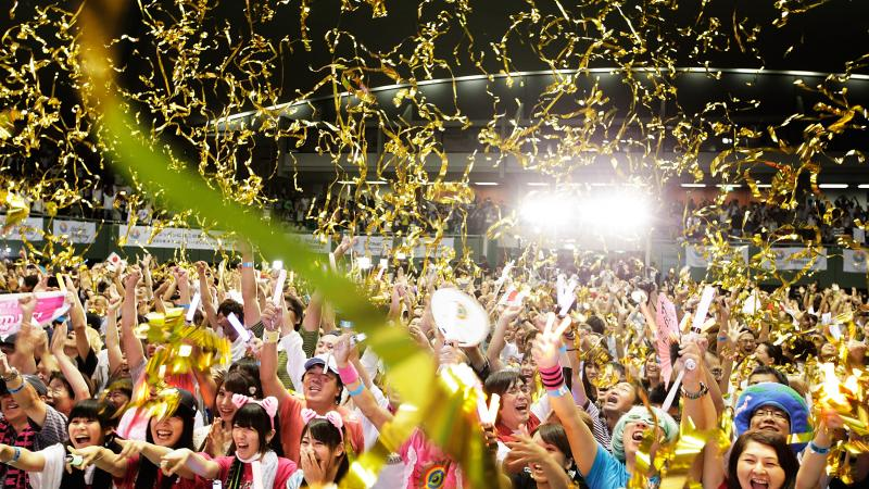 Residents of Tokyo celebrate the city winning the 2020 Olympic and Paralympic Games