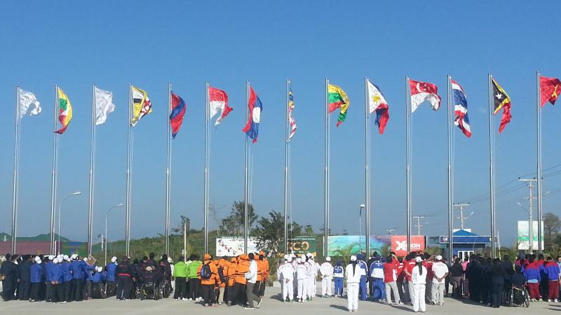 Flag raising Myanmar 2014